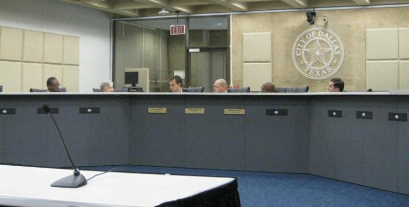 Three Dallas city council members and three Dallas school trustees comprise the task force. They include (l-r) trustees Lew Blackburn and Nancy Bingham, City Councilmen Scott Griggs, Adam Medrano,  Mayor Pro Tem Tennell Atkins, and trustee Miquel Solis