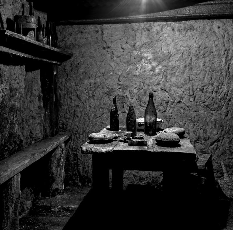 French soldiers' underground dining area, taken on December 6, 2011 in Vauquois, France.
