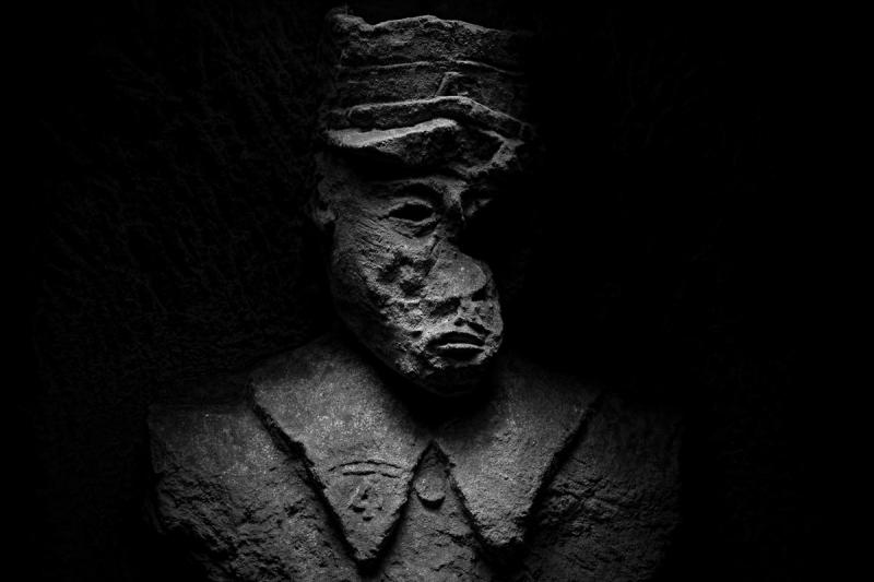Sculpture of a French soldier wearing the uniform of 1914, taken on January 16, 2014 in Picardy, France.