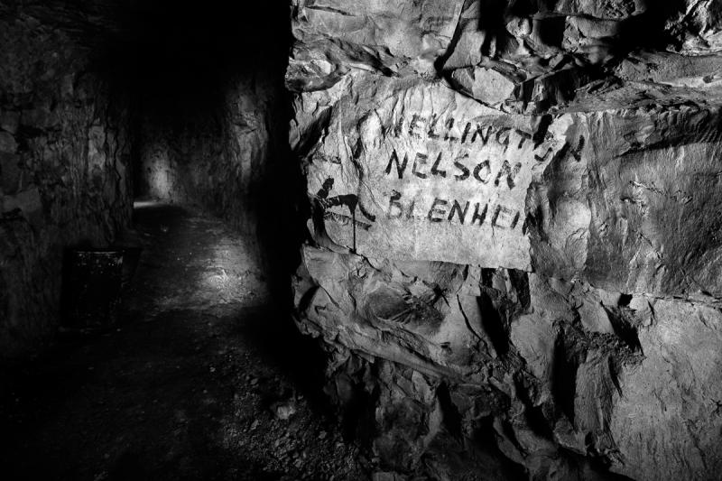 Street sign in an underground WWI city, taken on January 26, 2014 in Nord-Pas-de-Calais, France.