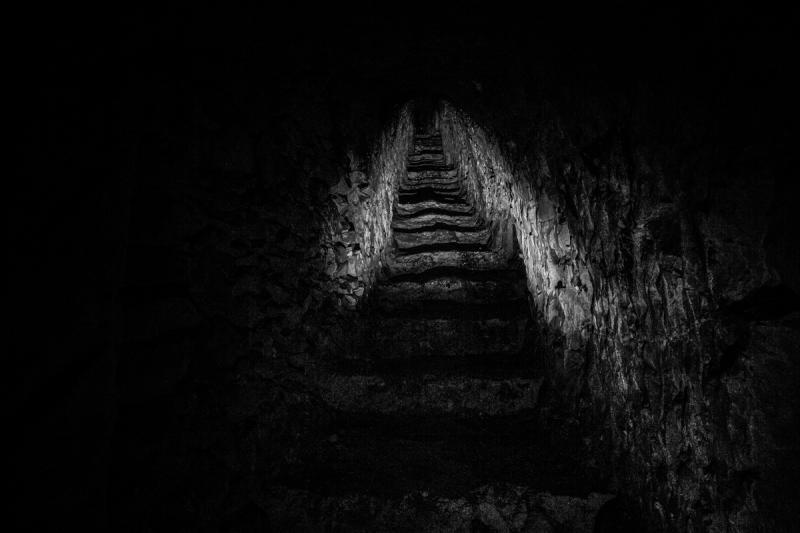 Stairway from an underground city to the trenches, taken on January 26, 2014 in Nord-Pas-de-Calais, France.