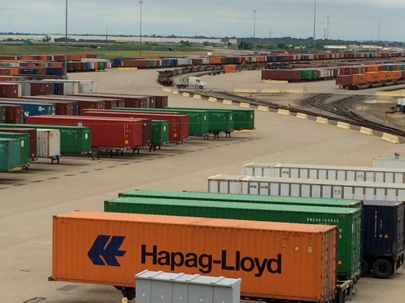 An intermodal center in the Inland Port area serves as a transfer point for cargo being shipped across the country.