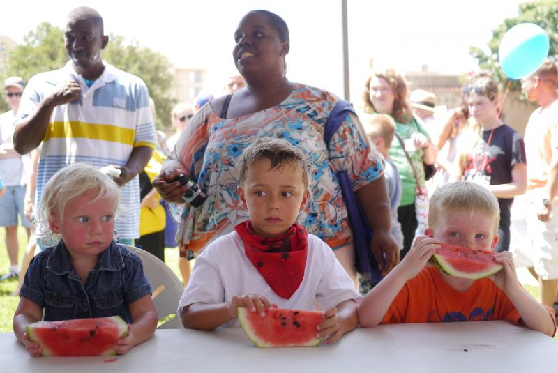 Children ready to compete during several Watermelon Eating Contests.