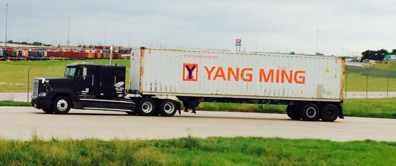 International trucking companies move goods in and out of the Union Pacific Intermodal terminal.