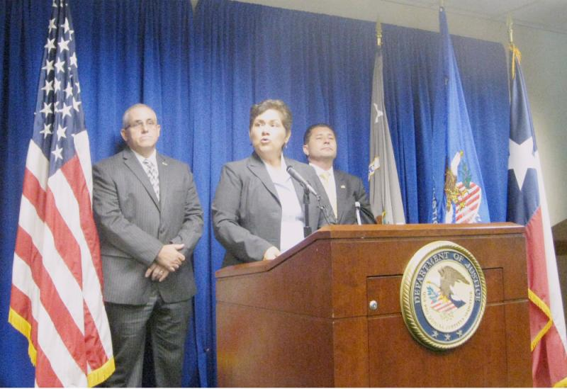 From left to right: Kelly Carpenter, special agent with the IRS; Sarah Saldana, U.S. Attorney; and Diego Rodriguez, FBI special agent at the press conference announcing John Wiley Price's indictment.