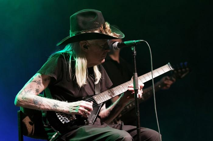 Johnny Winter plays a show in Germany in 2011.