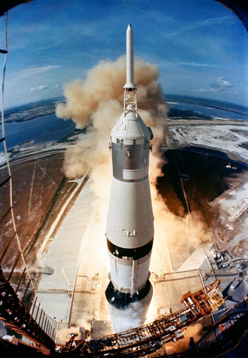 On July 16, 1969, the Apollo 11 spacecraft carried astronauts Neil Armstrong and Buzz Aldrin into space.