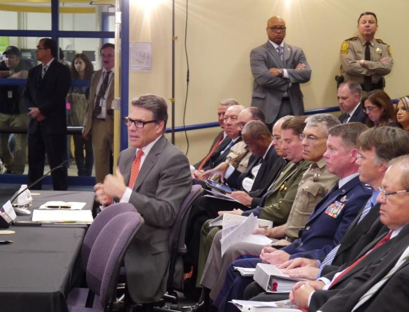 Gov. Rick Perry testified at a congressional hearing in South Texas on Thursday.