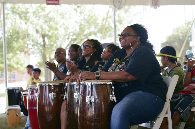 A group of drummers starts the festivities at Saturday's Turn Up! event at Fair Oaks Park.