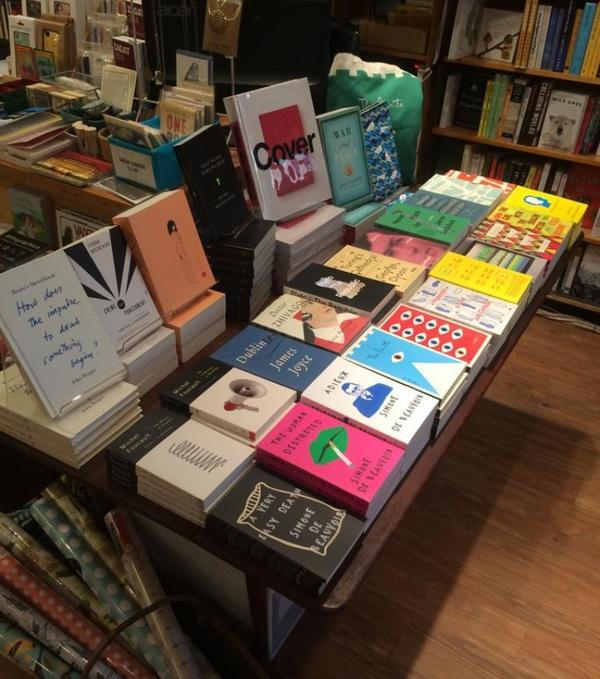 A collection of Peter Mendelsund's designs featured in the Book Culture bookstore in New York.