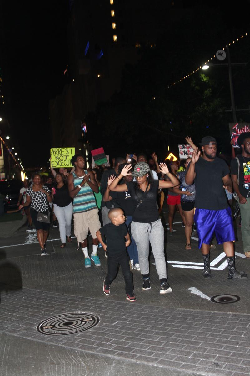 Demonstrators met in downtown Dallas to support the Ferguson protests.