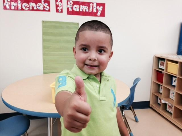 Edgar Sanchez Jr. Gives a thumbs up on the first day of Pre-K at A.V.Cato Elementary School.
