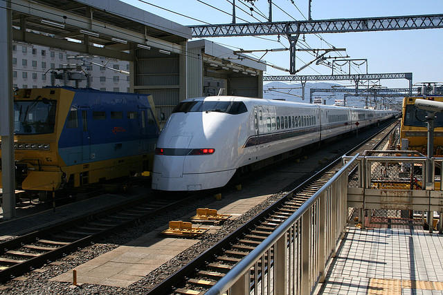 A Shinkansen bullet train in Japan, which can hit speeds of up to 200 miles per hour.