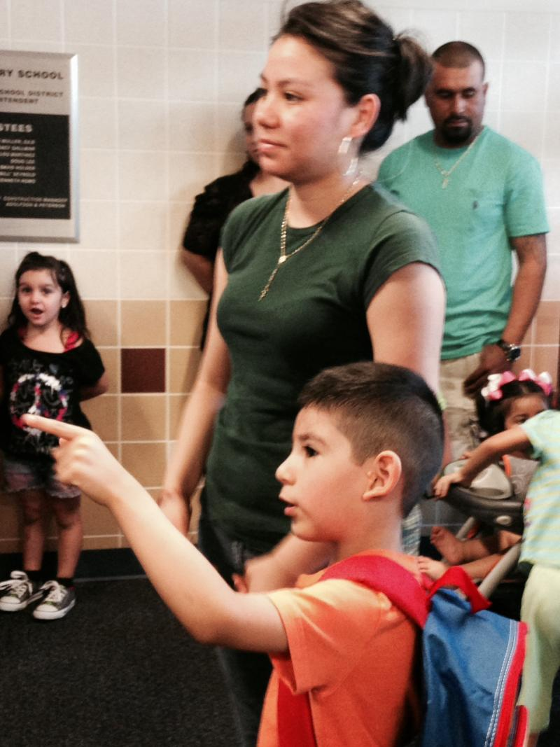 Parents and kids traveled the halls together at A.V. Cato Elementary Monday morning.