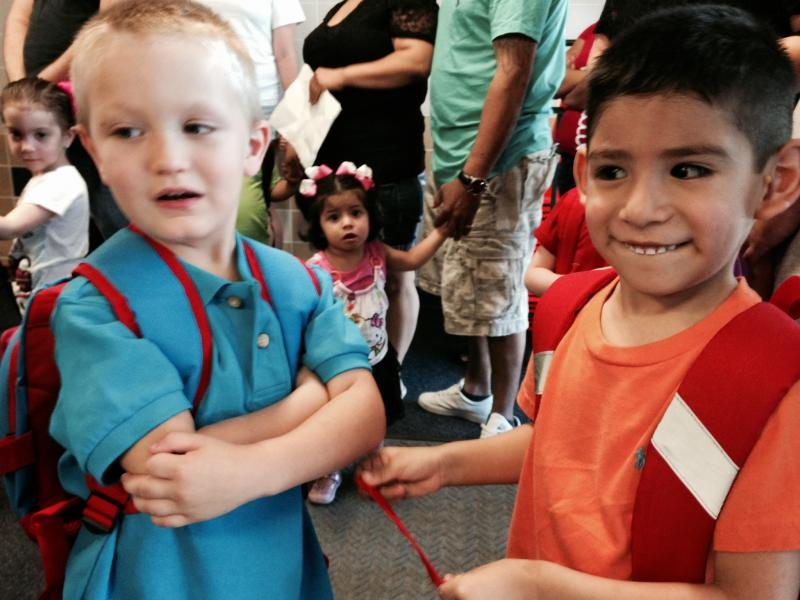 Maybe they'll be best buds? It's the first day of class at A.V. Cato Elementary in Castleberry ISD.