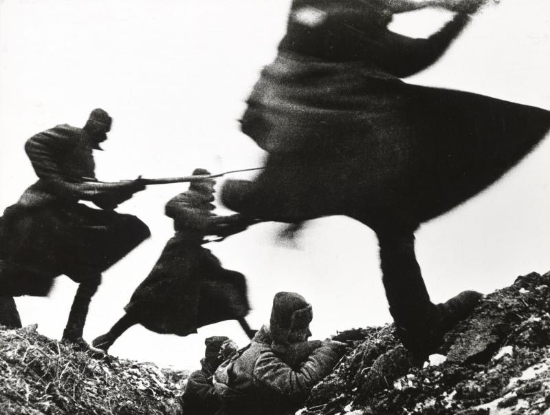 This gelatin silver print depicts an attack on the eastern front during World War II, dated 1941.