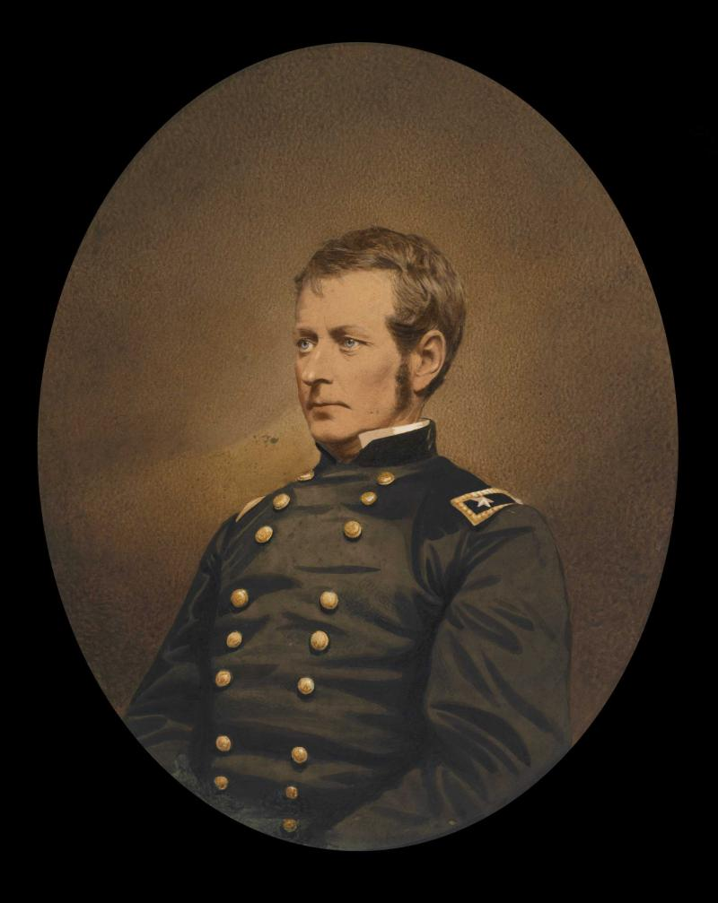 The hand colored, salted paper print portrait shows Major-General Joseph Hooker, circa 1863.