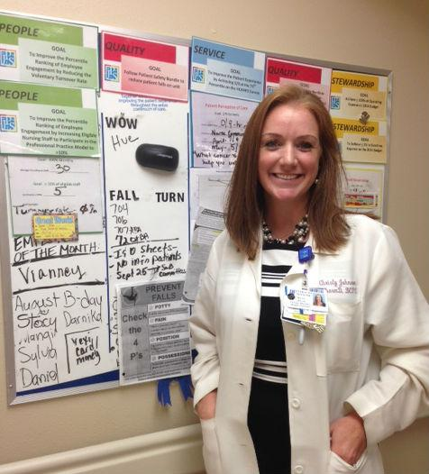 Christy Johnson manages the clinical pharmacy at John Peter Smith Hospital in Fort Worth, which is working to reduce falls among patients.