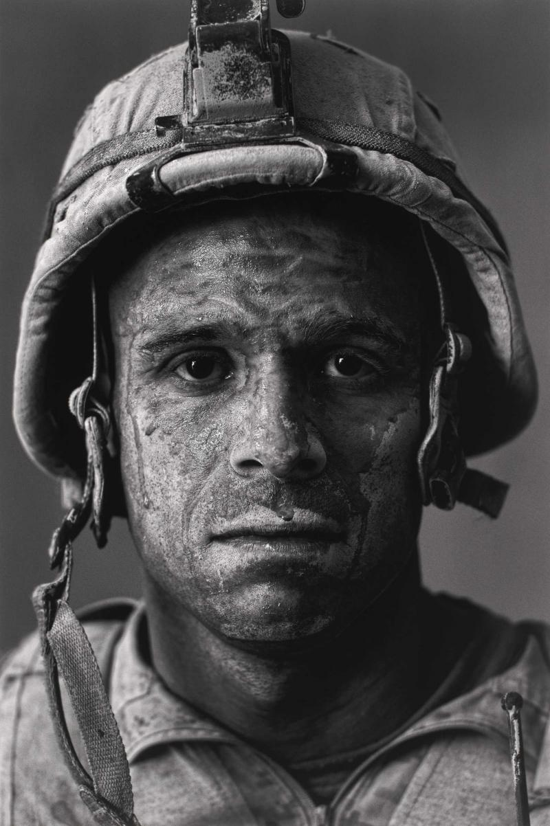 "Louie Palu's portrait from <em>Project: Home Front</em> shows U.S. Marine Gysgt. Carlos ""OJ"" Orjuela at age 31 in the Garmsir District in the Helmand Province of Afghanistan."