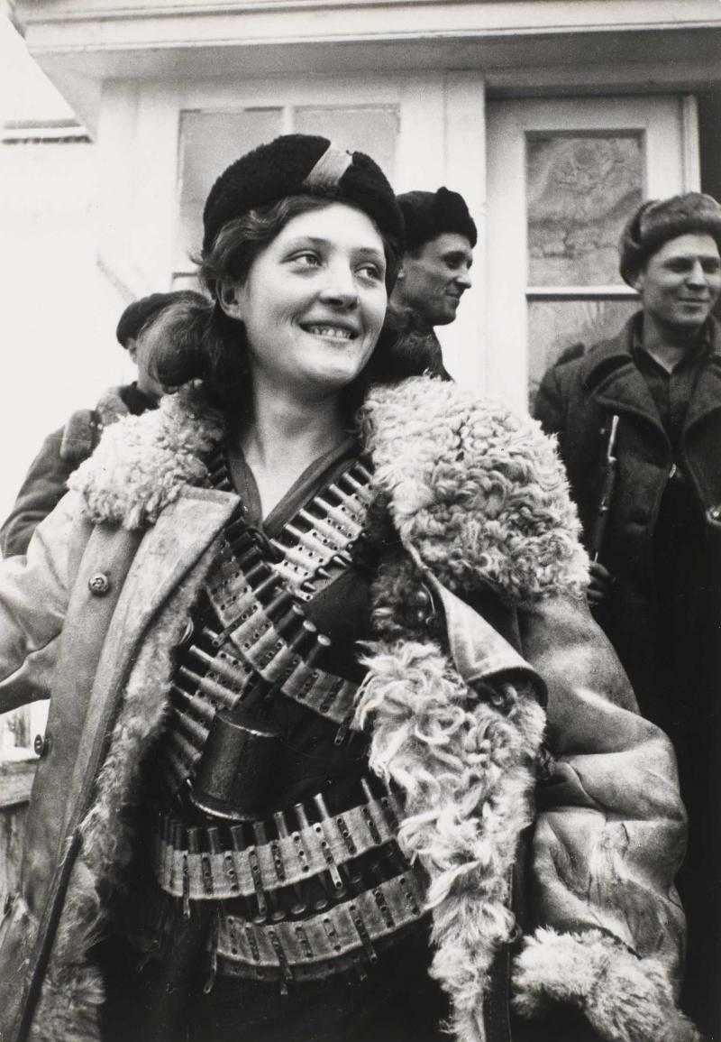 Arkady Shaikhet's photo <em>Partisan Girl</em> is a gelatin silver print from 1942.