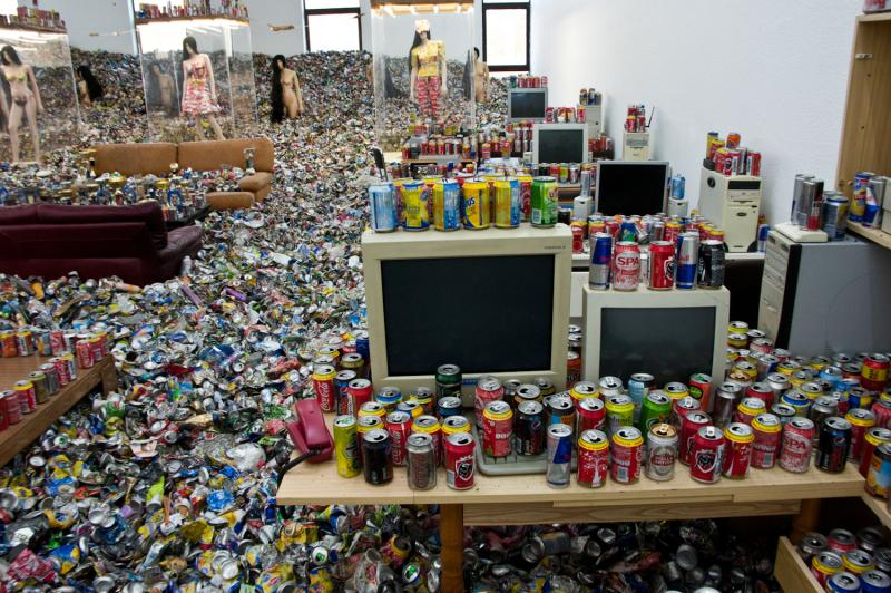 An installation by Thomas Hirschhorn at Museum Dhondt Dhaenens named 'Too Too - Much Much'