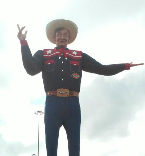 Big Tex stands at 55 feet tall.
