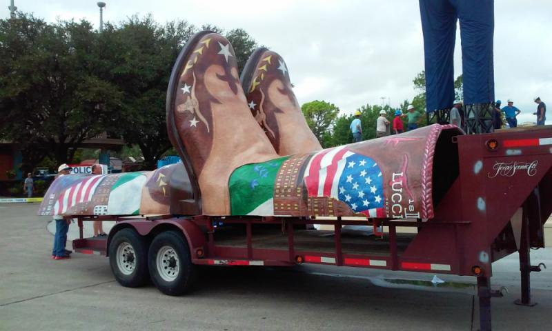 Big Tex wears a size 96 boot.
