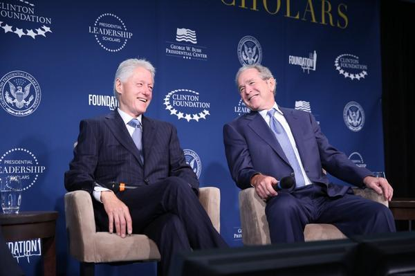 Presidents Clinton and Bush gathered Monday in Washington, D.C., to announce a partnership to help people learn about presidential leadership.