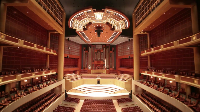 The Meyerson's acoustic canopy is one of several features invented to perfect the hall's sound.