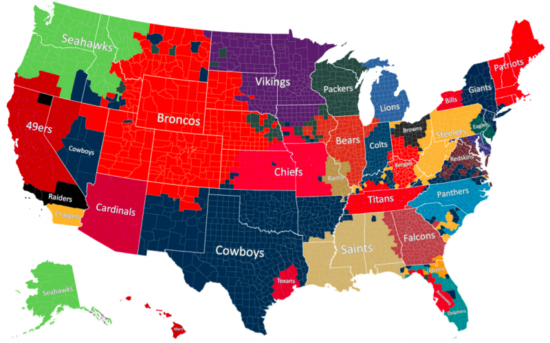 "Here's a look at favorite teams across the country, county-by-county. The Facebook map shows where football fans live based on which NFL team they ""like"" on Facebook."