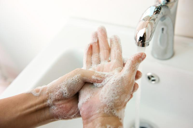 Always wash with soap and water. Hand sanitizers aren't always effective.