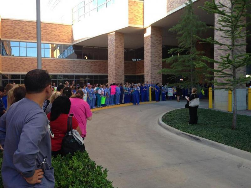 Texas Health Presbyterian employees gathered to send off Nina Pham, one of the nurses infected with Ebola. She was transferred to the National Institutes of Health Thursday evening.