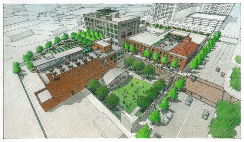 An aerial rendering of the new 508 Park, which will be called Encore Park.