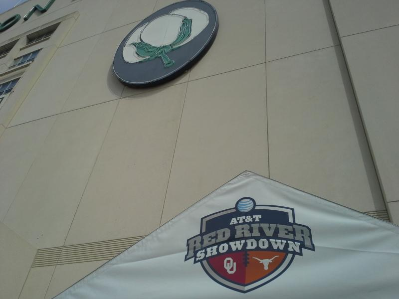 The Cotton Bowl at Dallas Fair Park is dressed up and ready for the annual Texas-OU football game.