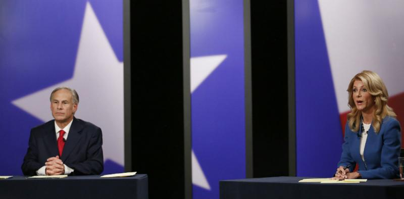 Attorney Genral Greg Abbott, Senator Wendy Davis, in KERA's Dallas debate studio
