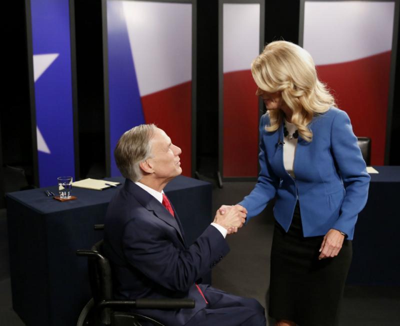 Republican Greg Abbott and Democrat Wendy Davis, debated at KERA studios Tuesday night.
