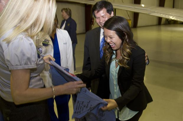 Nina Pham arrived at Fort Worth's Meacham International Airport late Friday night.