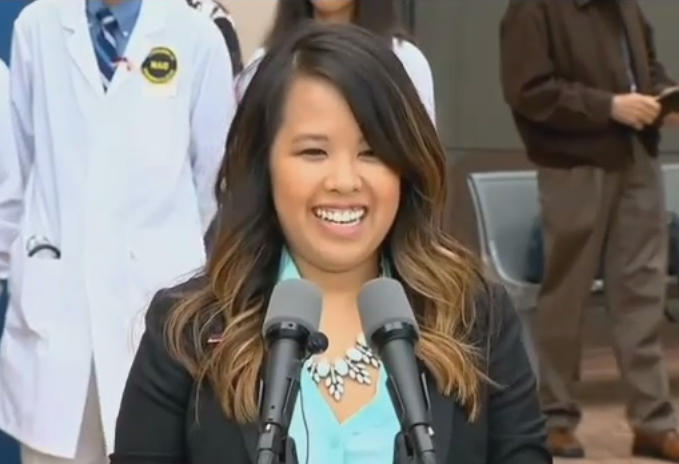 Nina Pham at a press conference in Maryland. She thanked her loved ones and the medical team at NIH.