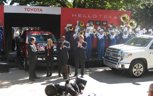 Pictured at the Toyota block party are Jim Lentz, Toyota CEO, Plano Olympian Nastia Liuken, Plano Mayor Harry LaRosiliere and Governor Rick Perry