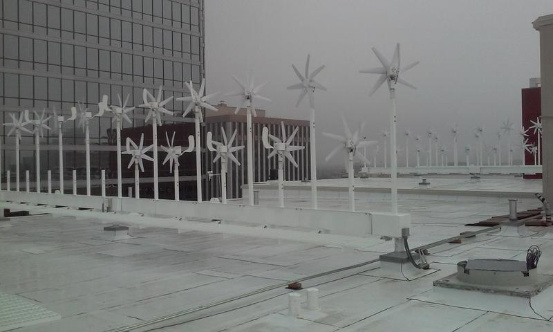 The wind farm at El Centro College sits atop the old Sanger building, built in 1897, that was also one the city's first buildings to run on power.