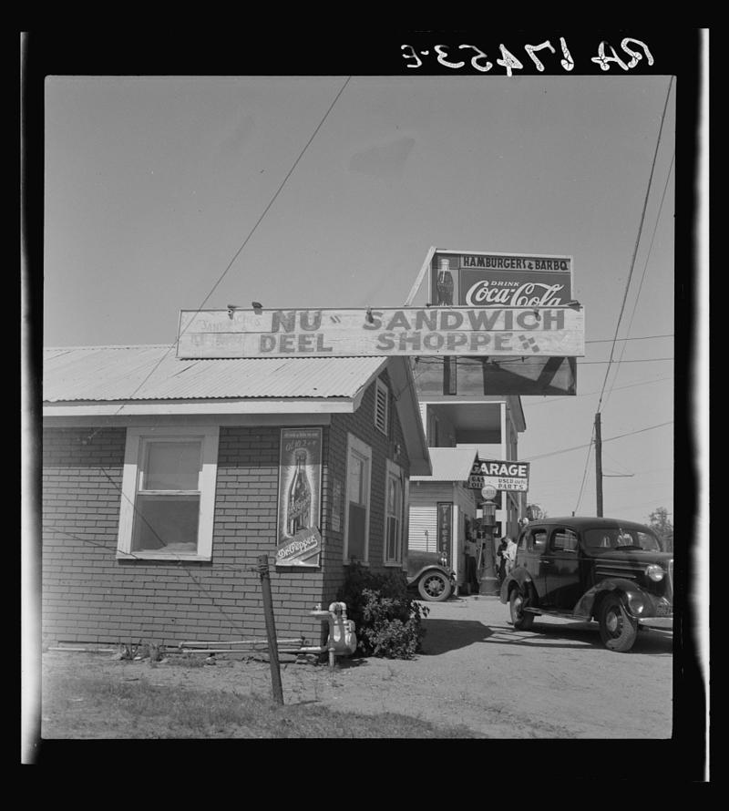A roadside stand and filling station in Ennis in 1937.