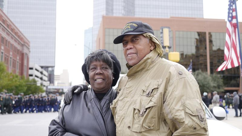 Evelyn and James Tucker stood in chilly temperatures in downtown Fort Worth during the annual Veteran's Day Parade.