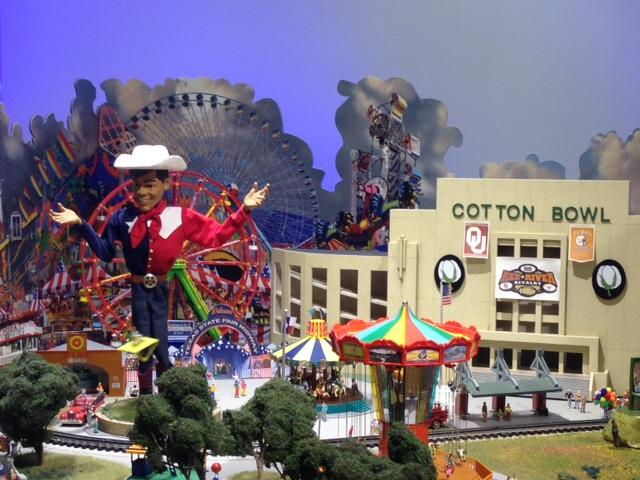 The State Fair of Texas is represented in the train display.
