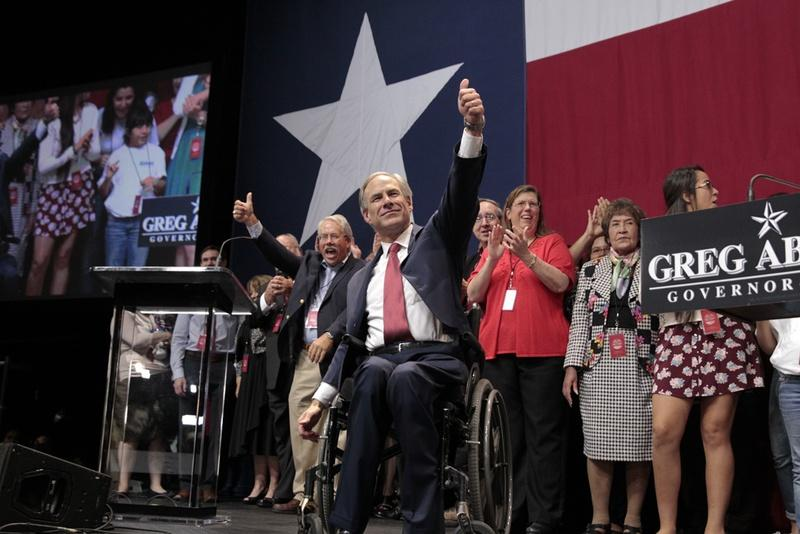 Greg Abbott celebrated his victory over Wendy Davis Tuesday night.