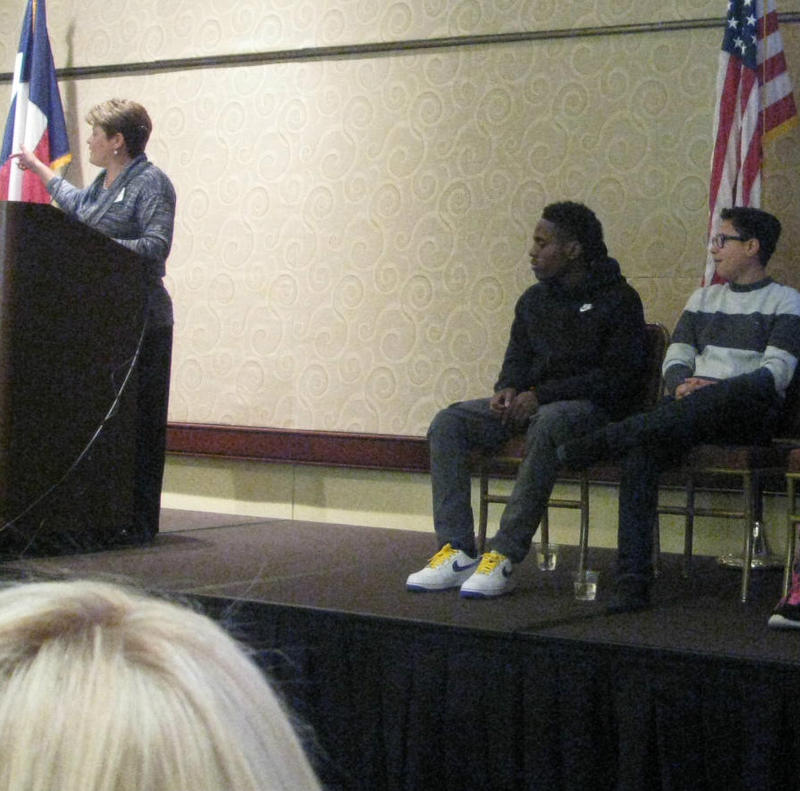 Timothy Simons (center) was among several once-homeless students at an event called See Me Now: Teens Without Homes. It was a gathering of some students and non-profit groups that reach out to kids facing homelessness and other issues