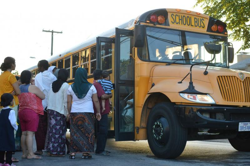 Students and parents prepared for the first day of school in Vickery Meadow, an immigrant-rich neighborhood in Northeast Dallas.
