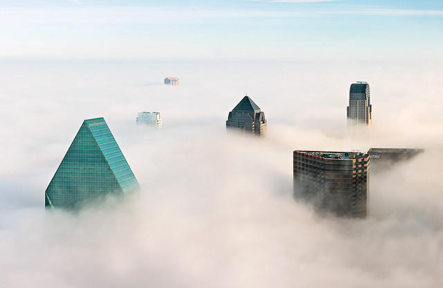 Justin Terveen's photo of downtown Dallas peeking out of the fog has been shared widely on social media.