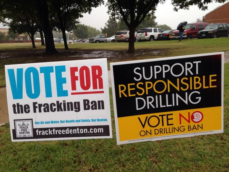 Texas' first fracking ban has taken effect in Denton, which is located over a large natural gas reserve.