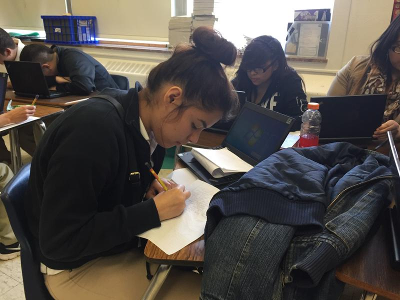 Students in Heather Mackenzie's journalism class at H. Grady Spruce High School