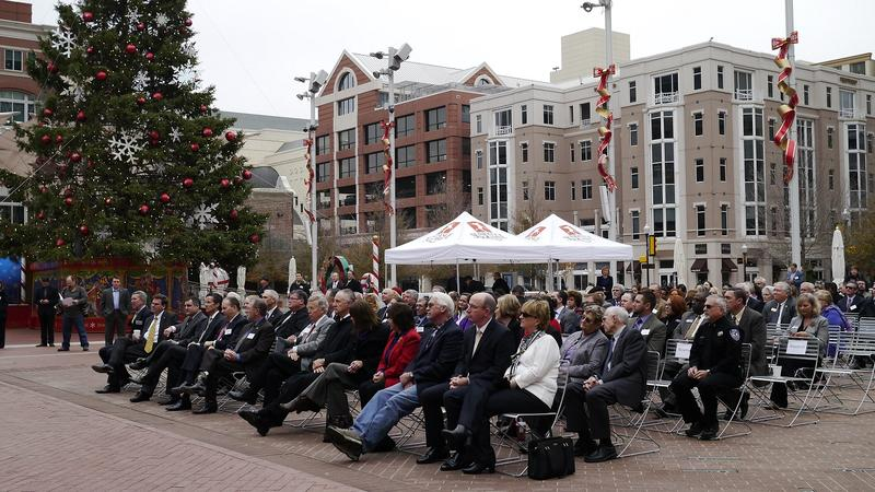 At Fort Worth's Sundance Square, Monday, officials gathered to listen to Tarleton State University officials announce plans for a new Fort Worth campus.